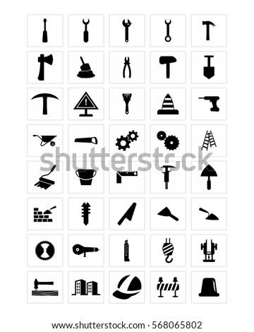 repair tool icon set