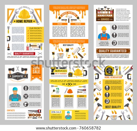 Repair tool posters of construction, home renovation equipment and instrument. Vector screwdriver, hammer and wrench, drill, spanner and pliers, paint, brush and roller, saw, screw, axe and toolbox