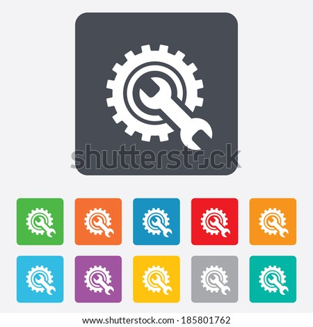 Repair tool sign icon. Service symbol. Hammer with wrench. Rounded squares 11 buttons. Vector