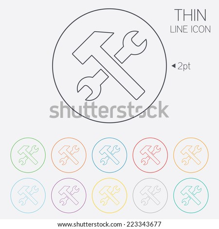 Repair tool sign icon. Service symbol. Hammer with wrench. Thin line circle web icons with outline. Vector
