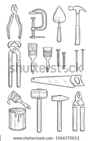 Repair tool sketch for construction, carpentry and finishing work. Hammer, plier and screw, paint , brush and trowel, saw, nail and wire cutters, clamp and pincers icon for hand instrument design