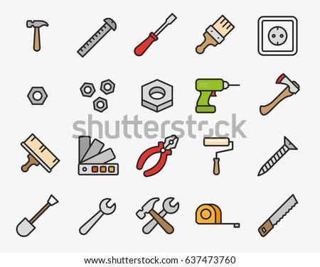 Repair Tools Minimal Color Flat Line Outline Stroke Icon Pictogram Symbol Set Collection. Hammer, Screwdriver, Nut, Paint Brush, Drill, Axe, Pliers, Roller, Wrench, Saw, Measure Tape.
