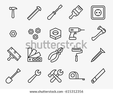 Repair Tools Minimal Flat Line Outline Stroke Icon Pictogram Symbol Set Collection. Hammer, Screwdriver, Nut, Paint Brush, Drill, Axe, Pliers, Roller, Wrench, Saw, Measure Tape.