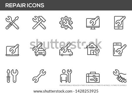 Repair vector line icons set. Screwdriver, engineer, toolbox, toolkit. Perfect pixel icons, such can be scaled to 24, 48, 96 pixels.