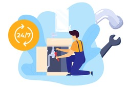 Repair worker plumber with tools fixes tubing in kitchen, workman, home technician service, handyman isolated vector illustration. Repairing workman, maintenance in house, serviceman order.