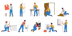 Repairman. Cartoon workmen making renovation. Building brigade painting and gluing wallpaper. Plumbers fixing leaking in pipes or cleaning plumbing. Men repairing household appliances, vector set