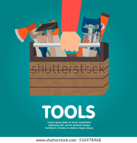 Repairman holding toolbox. Vector illustration flat design style. Hand with instrument isolated. Concept of repair services. Set instrument builder, handyman.