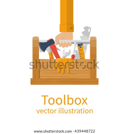 Repairman holding toolbox. Wooden toolbox with equipment. Vector illustration flat design style. Hand with instrument isolated. Handyman concept. Set instrument builder.