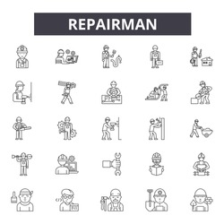 Repairman line icon signs.  Linear vector outline illustration set concept.
