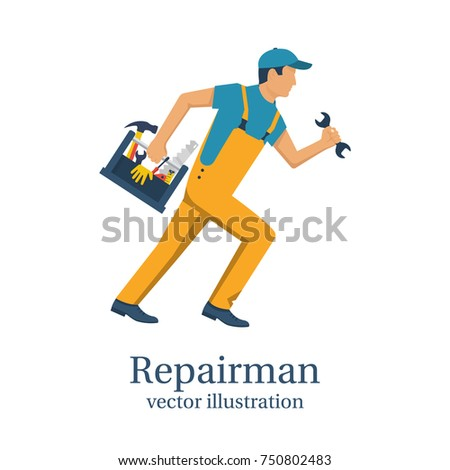 Repairman. Person with technical assistance hurries to the rescue. Holding toolbox in hand. Vector illustration flat design. Isolated on white background. Worker customer service.