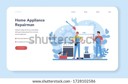 Repairman web banner or landing page. Professional worker in the uniform repair electrical home appliance with tool. Repairman occupation. Isolated vector illustration