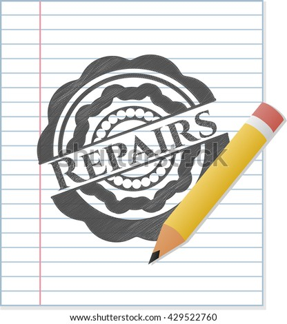 Repairs emblem with pencil effect