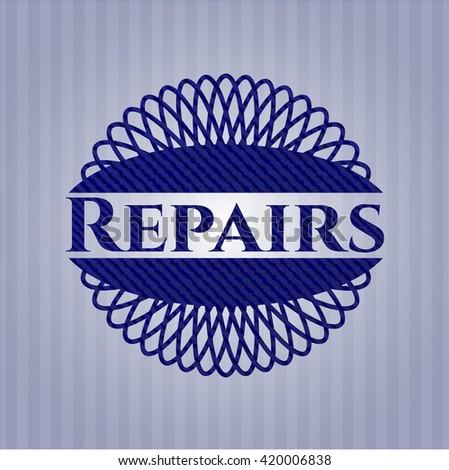 Repairs jean or denim emblem or badge background