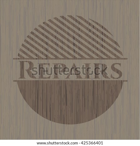 Repairs retro style wood emblem