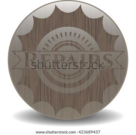 Repairs retro wood emblem
