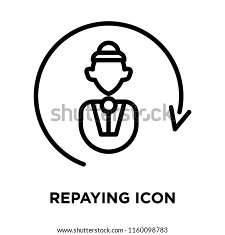 Repaying icon vector isolated on white background, Repaying transparent sign , line symbol or linear element design in outline style