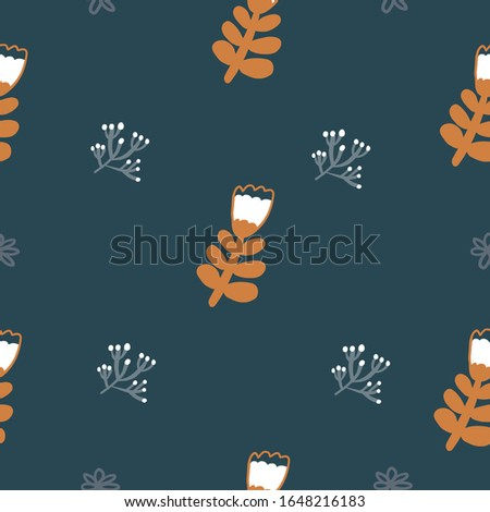 Repeat flower Pattern. Navy Blue background. Gold Flowers. Seamless floral pattern. Stylish repeating texture. Repeating texture.