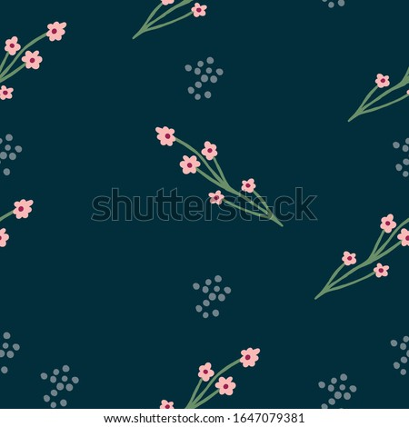 Repeat flower Pattern. Navy Blue background. Pink simple Flowers. Seamless floral pattern. Stylish repeating texture. Repeating texture.