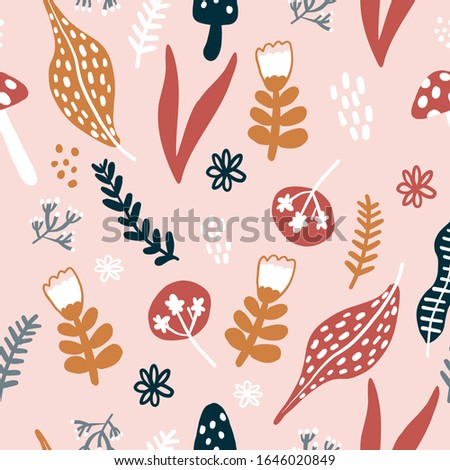 Repeat Forest Wildflower Pattern with light pink background. Seamless floral pattern. Stylish repeating texture. Repeating texture.