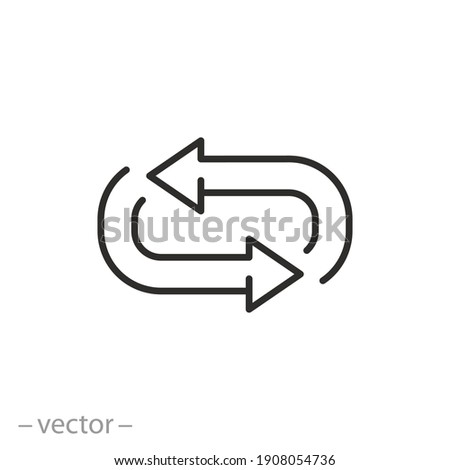 repeat or return flow icon, arrow refresh or branching, exchange pivot, oval switch, thin line symbol on white background - editable stroke vector illustration eps10