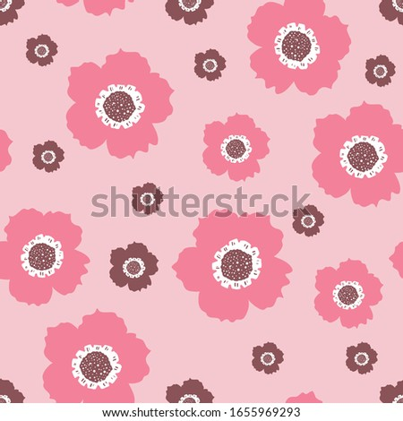 Repeat Vintage Flower Pattern with light pink background. Seamless floral pattern. Pink and Purple. Stylish repeating texture. Repeating texture.