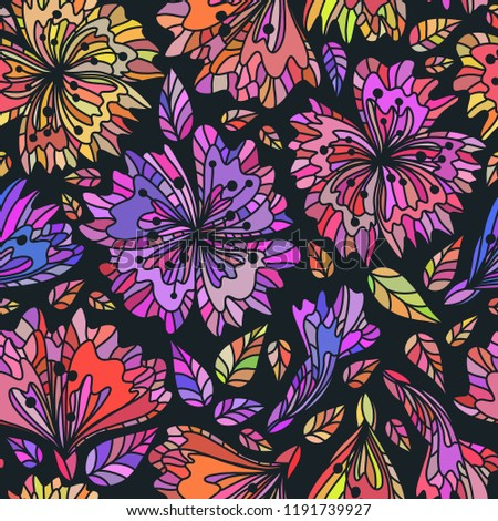 Repeatable background. Vector seamless pattern wild plants, herbs and flowers, fol artistic botanical illustration in folk style, hand drawn floral motif with outlined ornamental plants.