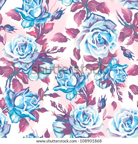 Repeatable Elegance seamless flowers pattern of flying roses, vector illustration.
