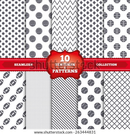 Repeatable patterns and textures. Sport balls icons. Volleyball, Basketball, Baseball and American football signs. Team sport games. Gray dots, circles, lines on white background. Vector
