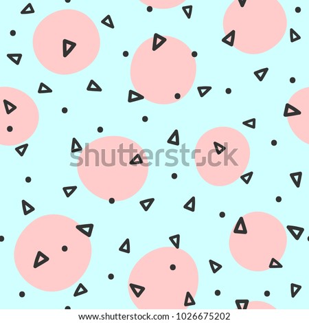 Repeated circles and triangles drawn by hand. Geometric seamless pattern. Sketch, doodle, scribble. Endless vector illustration for children.