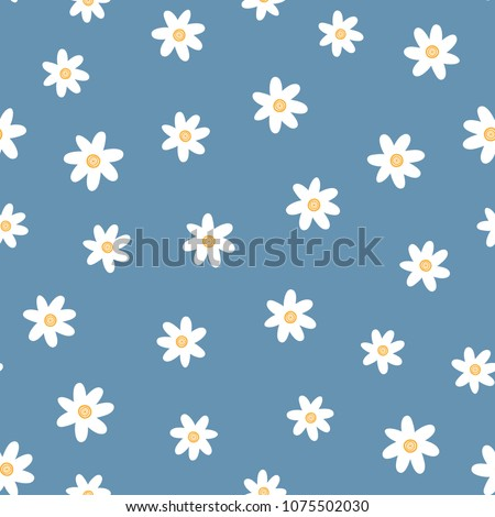 Repeated cute flowers. Simple floral seamless pattern. Endless feminine print. Vector illustration. White, blue, orange.