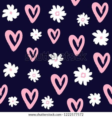 Repeated flowers and hearts drawn by hand with rough brush. Cute girly seamless pattern. Sketch, watercolor, paint, graffiti. Stylish print. Vector illustration.