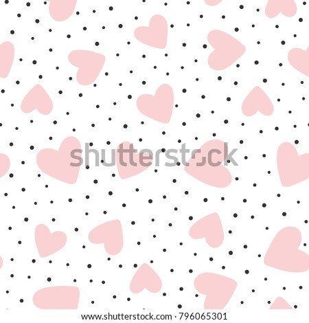 Repeated hearts and polka dot. Cute romantic seamless pattern. Vector illustration.