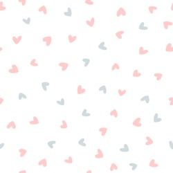 Repeated hearts drawn by hand. Cute seamless pattern. Endless romantic print. Vector illustration.