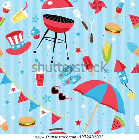 Repeating backyard BBQ party pattern in patriotic color scheme. Repeating vector patterns are great for backgrounds, wallpaper, and surface designs. Stock photo ©