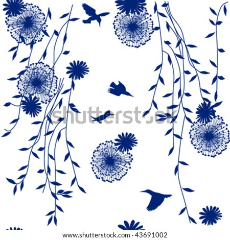 repeating blue pattern on white with flowers, dandelions and birds