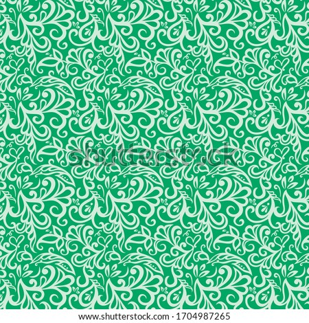 Repeating Floral Vine Spring Pattern / Kelly Green Background / Global colors saved with Pattern Swatches / Vector Illustration