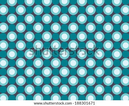 Repeating pattern with blue and light blue circles on dark background