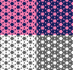 Repeating seamless pattern with star, polygon. Geometric ornament in ethnic style with pink, violet, monochrome background. Vector texture for wallpaper, fabric, backdrop, textile. Color inversion.