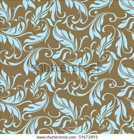 Repeating vector floral and feather pattern. Seamless swatch is included. - stock vector
