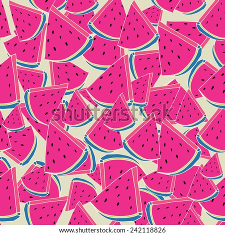 Repeating Watermelon Background Pattern. Watermelon Vector Background