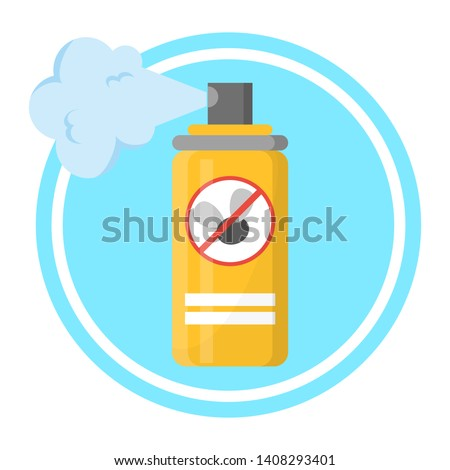 Repellent spray in the yellow bottle. Protection from the mosquito and other insect. Aerosol for bug bite prevention. Vector illustration in cartoon style Foto stock ©