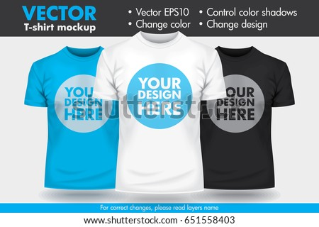 a1e5628c Replace Design with your Design, Change Colors Mock-up T shirt Template.  Vector. Men's ...