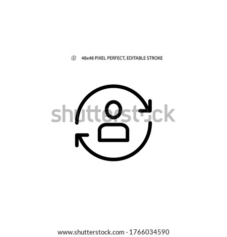 Replace person, staff change, replace worker simple line icon vector illustration. Editable stroke. 48x48 Pixel Perfect. Foto stock ©