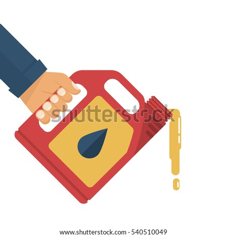 Replacement motor oil. Car mechanic holding a canister of motor oil, isolated on white background. Station service maintenance. Lubrication engine and mechanisms. Vector illustration flat design.