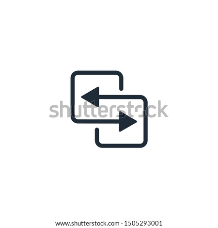 Replacement with movement. Vector linear icon isolated on white background. ストックフォト ©