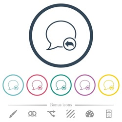 Reply message outline flat color icons in round outlines. 6 bonus icons included.