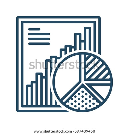 Report and Pie Chart vector icon in meaning Data Analysis