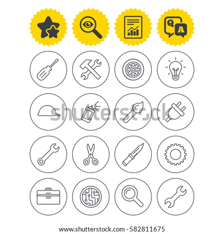 Report, best quality star and Q&A signs. Repair tools icons. Hammer with wrench key, wheel and brush. Screwdriver, electric plug and scissors. Circuit board, magnifying glass and construction helmet