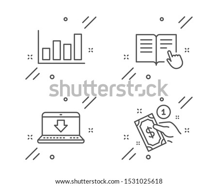 Report diagram, Read instruction and Internet downloading line icons set. Payment method sign. Financial market, Opened book, Load data. Give money. Business set. Vector