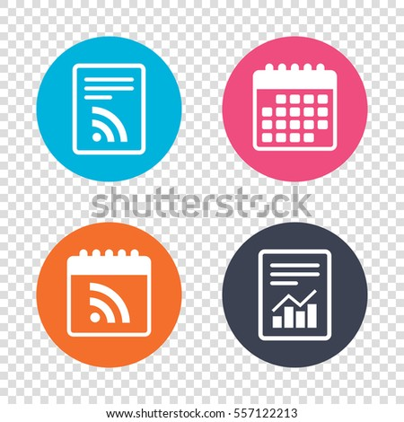 Report document, calendar icons. RSS sign icon. RSS feed symbol. Transparent background. Vector